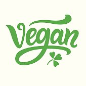 Vegan green hand written lettering. Vector modern calligraphy icon