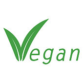 Vegan inscription with leaf on white back