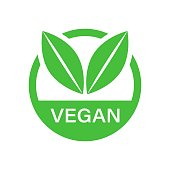 Vegan label badge vector icon in flat style. Vegetarian stamp illustration on white isolated background. Eco natural food concept.