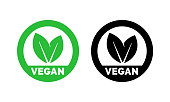 Vegan label template for vegetarian food. Green leaf icons set for vegetarian or vegan healthy nutrition or veggie package design