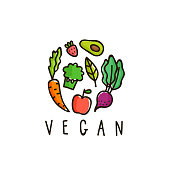 Vegan sign isolated on white. Hand drawn vector illustration