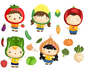 Image of many vegetables and kids in vegetable costume