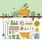 Vegetable garden. Garden tools. Banner with vegetable garden. Flat style, vector illustration.