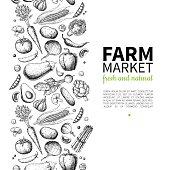 Vegetable hand drawn vintage vector illustration. Farm Market poster. Vegetarian set of organic products. Detailed food drawing. Great for menu, banner, label, , flyer