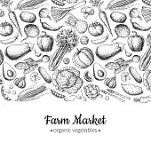 Vegetable hand drawn vintage vector illustration. Farm Market poster. Vegetarian set of organic products. Detailed food drawing. Great for menu, banner, label, flyer