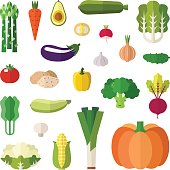 Vegetable icons vector set. Flat style design. Isolated objects.