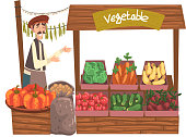 Vegetable Local Farmer Market with Fresh Natural Organic Products on Counter, Street Shop, Male Seller Selling Fresh Vegetables Vector Illustration on White Background.