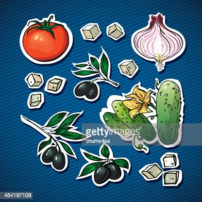 vegetable salad ingredients. olives, feta cheese  for family health : Vector Art