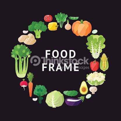 Vegetable Vector Circle Frame Background Modern Flat Design Vector ...