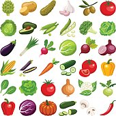 Vegetable icon collection - vector color illustration