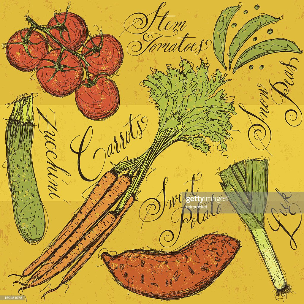 Vegetables and calligraphy : Vector Art