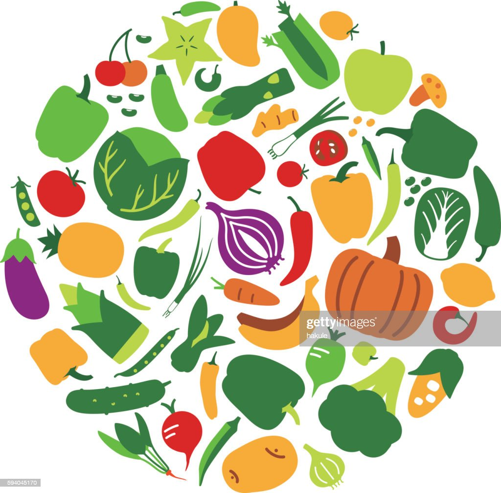 fruit and vegetables silhouetteicon set vector art getty images