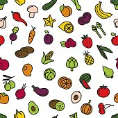 vegetables and fruit seamless pattern