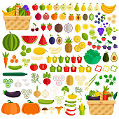 Vegetables and fruits flat icon elements isolated simple set. Ingredients in basket