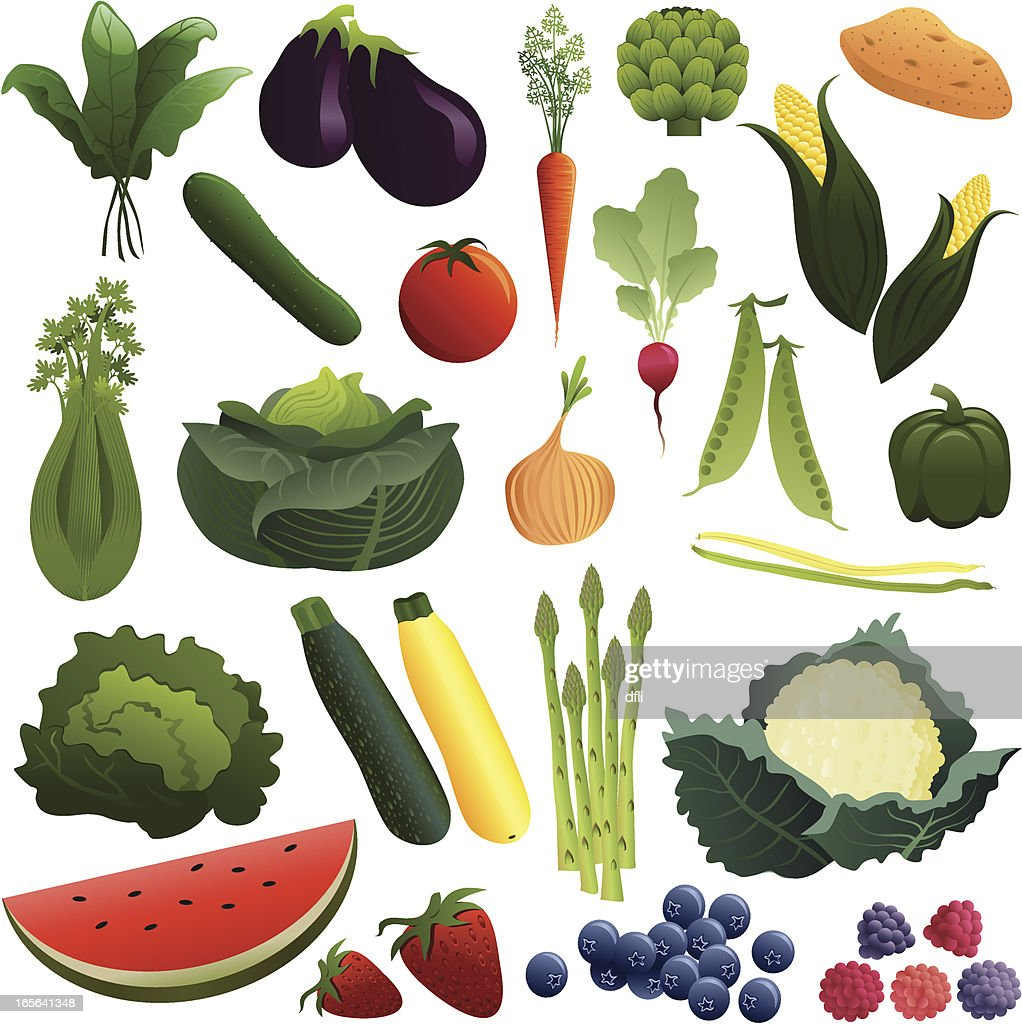 vegetables and fruits vector art getty images