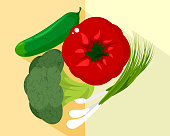 Vector illustration of vegetables and green onions