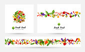 Vegetables. Design collection for menu, organic and natural food stores, packaging and advertising. Round emblem, background with border element and horizontal border.