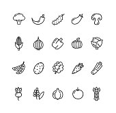 Vegetables Food Black Thin Line Icon Set for Web and App Isolated on White Background. Vector illustration