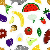 Vegetables fruits fish and meat - seamless pattern. Food