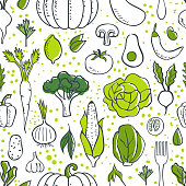 Farm fresh vegetables seamless pattern. Sketch style vector illustration.