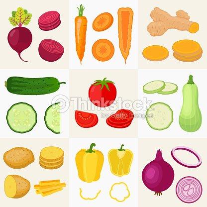 Conjunto De Verduras Pepino Tomate Patata Zanahoria Cúrcuma Pimiento