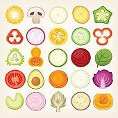 Vegetable slices illustrations. Vector vegetables cut in halves.