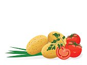 Vegetables. Tomatoes and potatoes with green onion and parsley on a white background. Flat design. Vector illustration