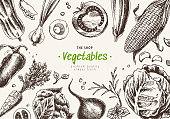 Vegetables top view frame. Farmers market menu design. Organic food poster. Hand drawn engraving style texture with tomatoes, pepper, onion, cabbage, beets, carrots, mushrooms, corn