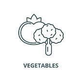Vegetables vector line icon, outline concept, linear sign