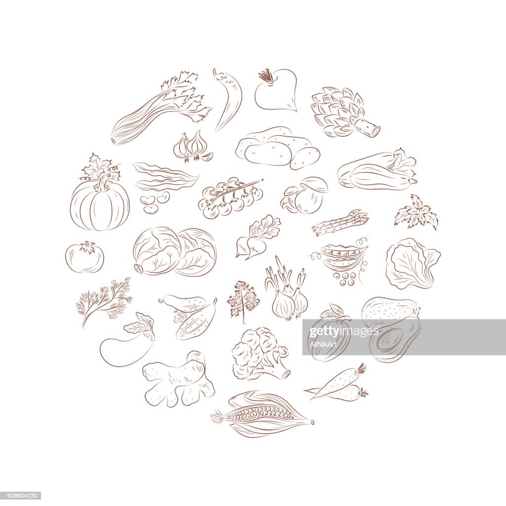 Vegetables vector set. Vegetables icons. Heart.