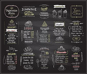 Vegetarian and vegan food chalkboard design set, hand drawn line graphic illustration with desserts and drinks, soups, salads, pizza and noodles, vector collection