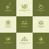 Vegan and vegetarian food line icons set for restaurant menu or recipes website