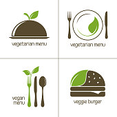 Set of vector icons for vegan and vegetarian food and restaurant menu