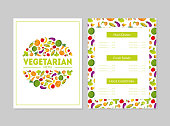 Vegetarian Menu Design Template, Main Dishes, Fresh Salads, Hot and Cold Drinks, Cafe or Restaurant identity Colorful Vector Illustration.