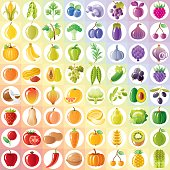 Vegetarian rainbow withe fruits, vegetables, nuts, berries