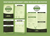 Restaurant menu brochure template. Vector brochure design, modern cover layout for posters and flyers. Professional design with hand-drawn elements for bifold brochure to vegetarian restaurant price l