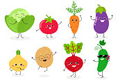 Set of different cute happy vegetables. Vector flat illustration isolated on white background