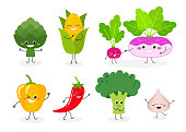 Set of various cute cartoon vegetables. Vector flat illustration isolated on white background