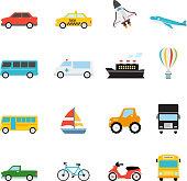 Vehicle and Transportation icon set vector illustration