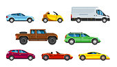 Vehicle collection. Urban transportation in city auto passenger car, SUV cabriolet hatchback sedan station wagon and minibus vector colored pictures in flat style