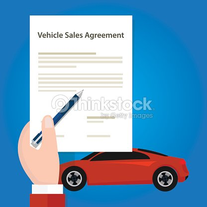 vehicle sales agreement document paper car hand holding ベクトル
