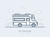 RV vehicle monoline vector illustration
