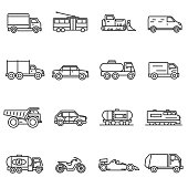 Vehicles, line icons set. Collection of ground transportation. Various transport , vector linear illustration. car, truck, train, public transportation, bike, bulldozer. Wheel vehicles elements