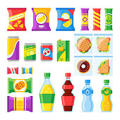 Vending products. Snacks, chips, sandwich and drinks for vendor machine bar. Cold beverages and snack in plastic package merchandising flat vector isolated icons set