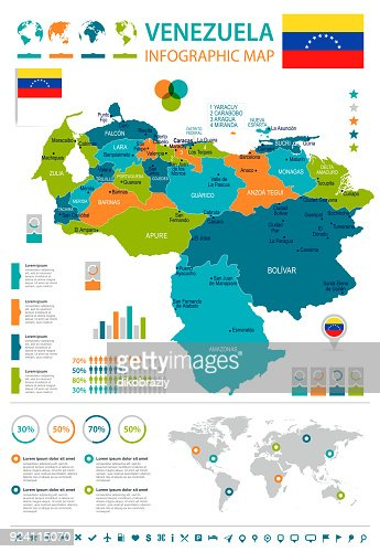 Venezuela Infographic Map And Flag Detailed Vector Illustration