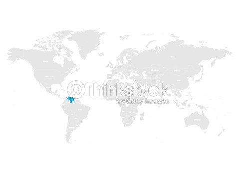 Venezuela Marked By Blue In Grey World Political Map Vector ...