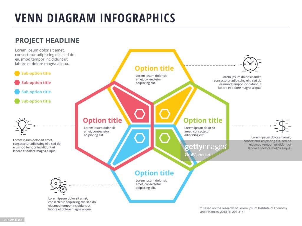 Venn Diagram With 4 Circles Infographics Template Design Vector Logic  Diagram Early Start Logic Diagram Shapes