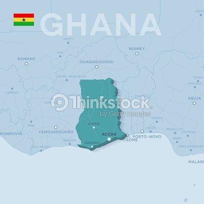 Ghana Karte.Verctor Karte Von Stadten Und Strassen In Ghana Vektorgrafik