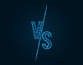 Versus Battle low poly design, Competition vs match game in polygonal style, martial battle vs sport vector illustration on dark blue background