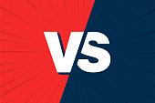 VS Versus Blue and red comic design. Vector illustration.